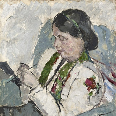 Portrait_of_a_Woman,_Knitting,_1945-1950,_oil,_60.8_x_50.9_cms